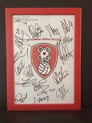Rotherham United NEW 2017/18 Hand Signed Framed A4 Autograph Sheet.