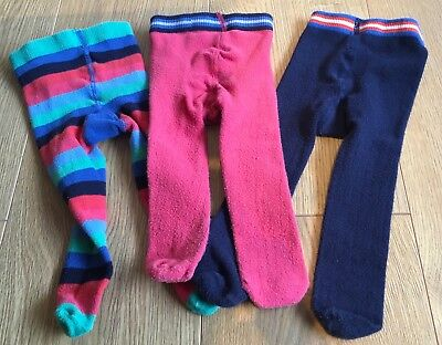 Next Baby Girls 3 Pairs Tights Navy Blue Striped Age 12-18 Months