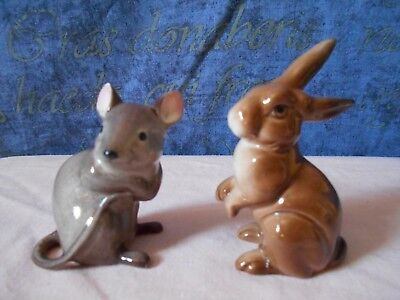 Two Lovely Cute Beswick Models Of A Grey/brown Mouse And A Brown Rabbit