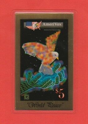 USA Calling Card AmeriVox World Peace Vogel Friedenstaube Bird Dove 1g Feingold