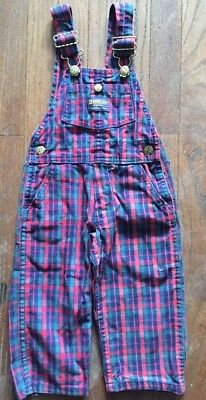 Vintage  OshKosh Overalls Toddler Size 2T Red Plaid Vestbak Pants Made in USA