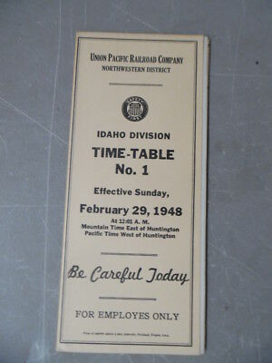1948 Union Pacific Railroad Employee Timetable 1 Idaho Division Northwestern UP