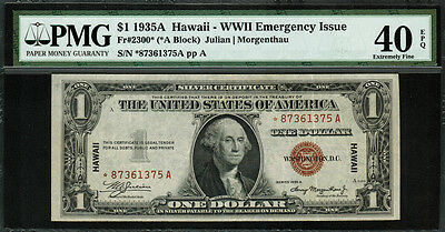 1935A $1 Hawaii WWII Emergency Issue FR-2300* - Star Note - PMG 40 EPQ