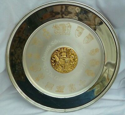 533g HEAVY SOLID STERLING SILVER QEII JUBILEE PLATE COLLEGE of ARMS 26.5cm GOLD