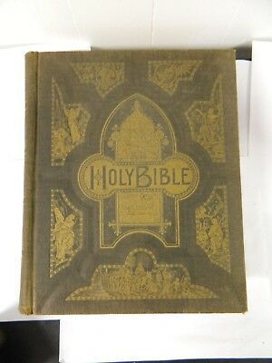 Antique Pictorial Family Bible Old & New Testament Orignal Tongues Translations