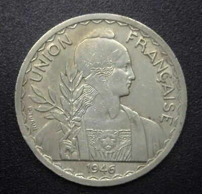 FRENCH INDO-CHINA 1946(a) SILVER PIASTRE  KM#32.1 Y#24 NEARLY UNCIRCULATED RARE!
