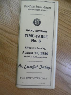1950 Union Pacific Railroad Employee Timetable 6 Idaho Division Northwestern UP