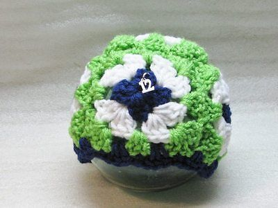 LAST CHANCE 6-12 Mo Granny Square Baby Hat Seahawks Green White Blue Silver #12