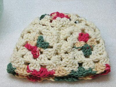LAST CHANCE 3-6  Mo Happy Scrappy Granny Square Baby Hat Cream Pink to Green
