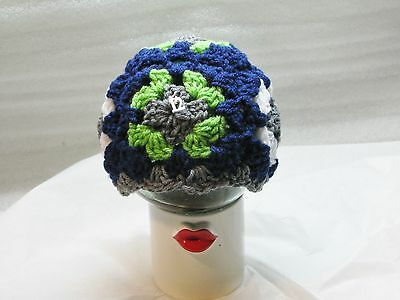 LAST CHANCE 6-12 Mo Granny Square Hat Seahawks Blue Green White Gray Silver #12