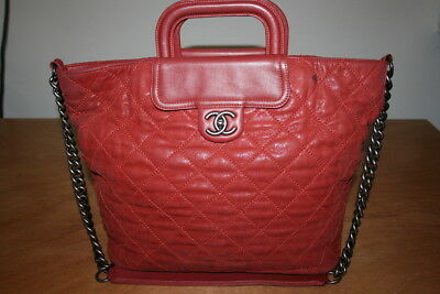 c8dc89c8259fa CHANEL Red Quilted Calfskin Leather In-the-Mix Large Shopping Tote Bag