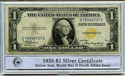 1935 PCGS $1 U.S. Silver Certificate Yellow Seal WWII North Africa Issue RR400