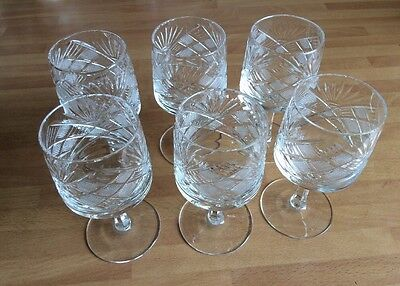 """Vintage Cut Crystal Glasses x 6 -Saw Tooth Stems - Beautiful items - 4.75"""" High"""
