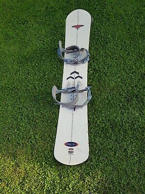 Avalanche snowboard with bindings as seen