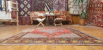 Beautiful Henna Dyes Antique Cr1930-1939s Wool Pile 4x6ft Oushak Rug