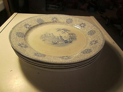 Lot of 5 Antique Vintage Chinese Plates Rhone Stone China