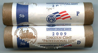 2009 Lincoln Cent Penny Rolls - Professional Life P & D Mint - Official - AM553