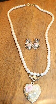 1928  Earrings & Necklace Pink Rose and Pearls