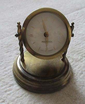 Mercedes made in Germany Brass Windup Clock working nice patina aged old vintage