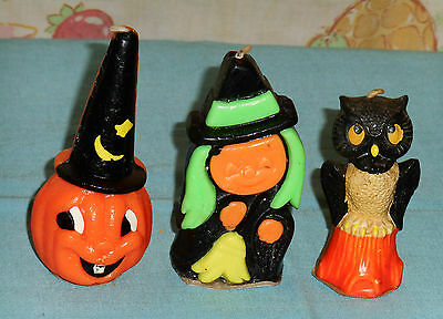 vintage Halloween GURLEY & SUNI CANDLE LOT OF 3 witch owl jack-o-lantern w/hat