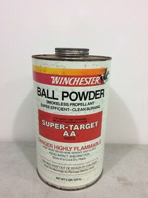 Vintage Winchester Ball Powder Can 8lbs Size Steel BIG Can Paper Label (empty)