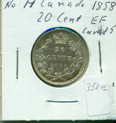CAN 1858 No H Curved 5 20 cents EF