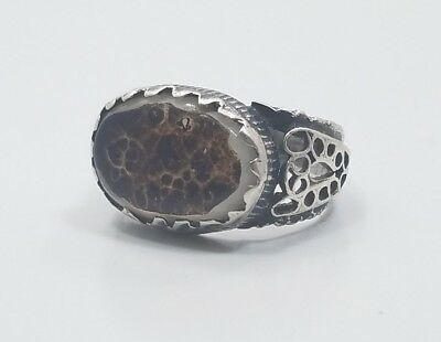 Vintage Sterling Silver 925 Hand Made Detailed Unique Stone Ladies Ring Size 5