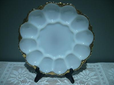 Vintage Retro Milk Glass Deviled Egg Plate - Holds 12 - Good Cond