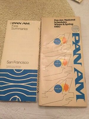 Pan Am National Airlines Flight Schedule/Timetable 1980 Vintage