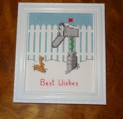 New Christmas Mailbox Winter Best Wishes Framed Picture Finished Cross Stitch