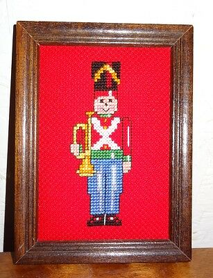 New Christmas Soldier Horn Framed Picture Finished Cross Stitch