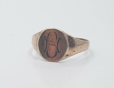 Beautiful Antique Edwardian Victorian Seal Signet Ladies Gold Filled Ring
