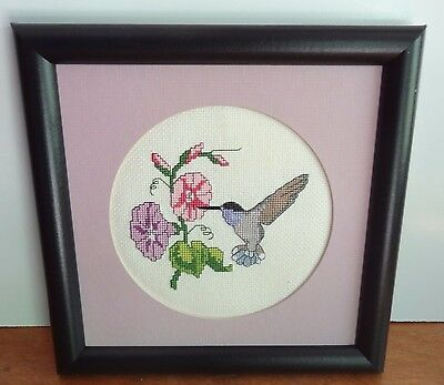 Hummingbird Blue Throat framed picture handmade Finished Cross Stitch
