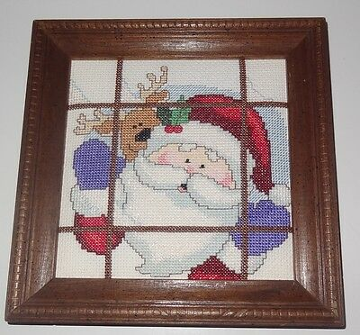 New Finished Cross Stitch framed picture Santa Claus Reindeer Window Christmas