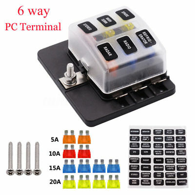 6 Way Fuse Holder Box Car Vehicle Circuit Blade Fuse Box Block Pc Terminals
