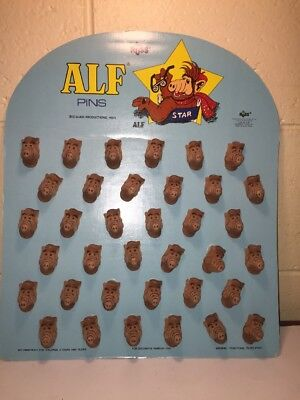 Vtg 1988 Store Display Set 36 Flocked Alf Pins New Old Stock By Russ Excellent!