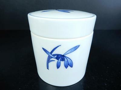 J445: Japan Kiyomizu-ware Flower pattern TEA CADDY Chaire Container, Shunpo made