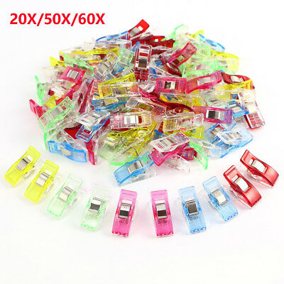 20X/50X/60X Mixed Colorful Sewing Craft Quilt Binding Plastic Clips Clamps Pack