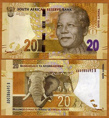 South Africa, 20 rand, ND (2012), P-NEW, UNC > Mandela, Elephant
