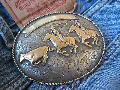 SPECTACULAR NEWMAN'S SILVER SHOP Sterling 14K TEAM ROPING Buckle - RENO MAKER