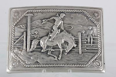 REALLY NEAT Vintage Silver BUCKING HORSE Buckle - FANTASTIC SCENE not sterling