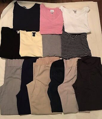 Maternity Lot Fall Winter Career Casual Jeans Pants Shirts 13 Items Size XL 16