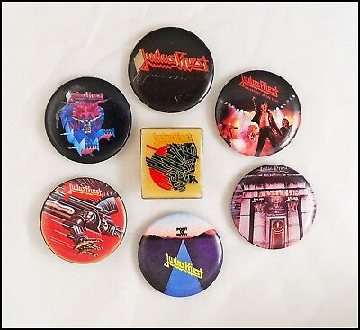 Judas Priest Lot Of 6 80's Buttons & Screaming For Vengeance Pin Rob Halford