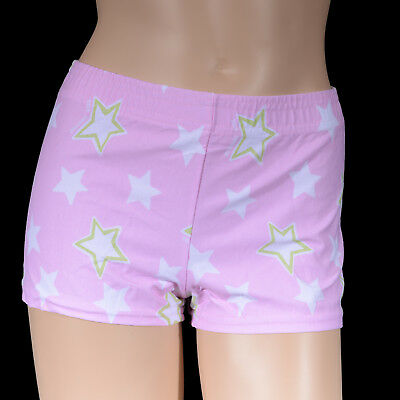 Girls Pink White Star Bike Shorts, Girl's Cal Dance Gym Gymnastics Roller Sports