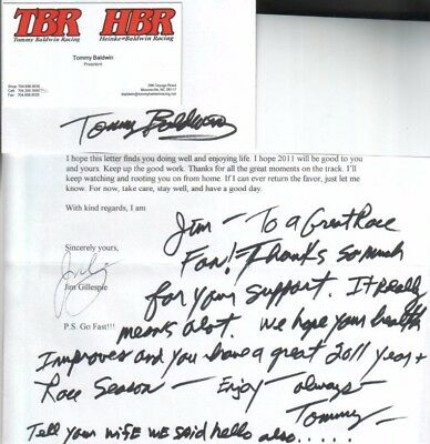 (2) Tommy Baldwin Jr. Autographs President of TBR Racing