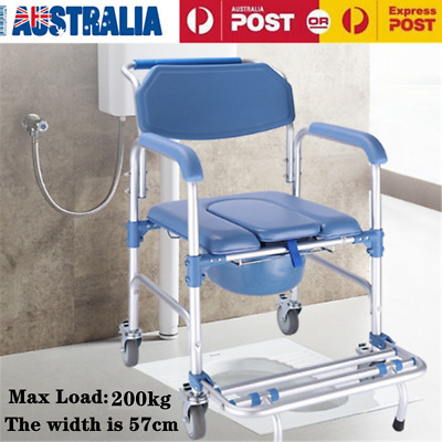 Commode Shower Bedside Mobile Chair For Waterproof Toilet Fold-up Footrest Wheel
