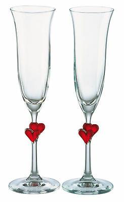 Pair of Stolzle L'Amour Red Heart Stem Champagne Glass Flutes in Box