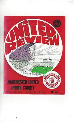 Manchester United v Derby County 1971/72 Football Programme