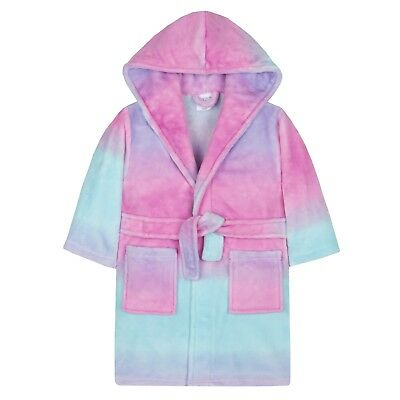 Girls Luxury Hooded Dressing Gown Supersoft Fleece Bath Robe Kids Warm Winter