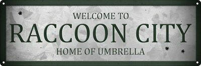 Welcome To Raccoon City Slim Tin Sign 30.5x10.1cm